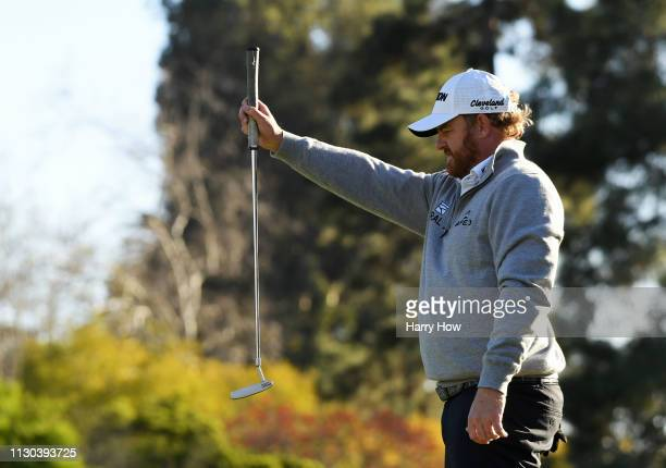 B Holmes lines up a putt on the 16th hole during the final round of the Genesis Open at Riviera Country Club on February 17 2019 in Pacific Palisades...