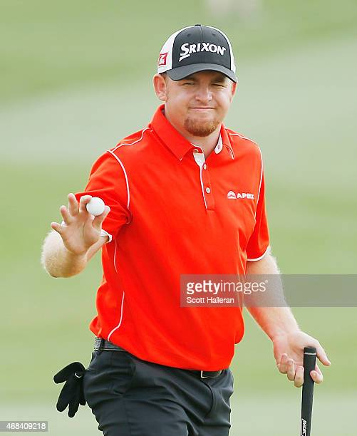 J B Holmes makes birdie on the 18th hole during the first round of the Shell Houston Open at the Golf Club of Houston on April 2 2015 in Humble Texas