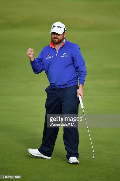 B Holmes of the United States celebrates during the first round of the 148th Open Championship held on the Dunluce Links at Royal Portrush Golf Club...