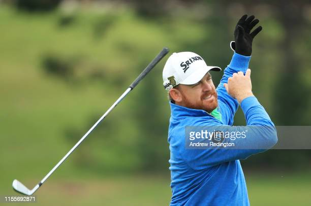 B Holmes of the United States drops his club on the second hole during the first round of the 2019 US Open at Pebble Beach Golf Links on June 13 2019...