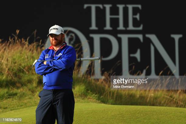 J B Holmes of the United States looks on the 18th hole during the first round of the 148th Open Championship held on the Dunluce Links at Royal...