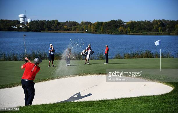 B Holmes of the United States plays a shot on the tenth hole during afternoon fourball matches of the 2016 Ryder Cup at Hazeltine National Golf Club...