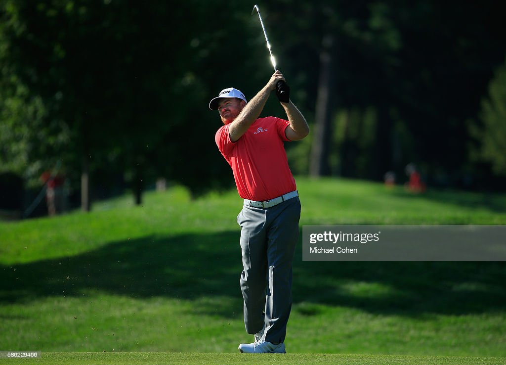 J.B. Holmes of the United States plays his second shot on the fourth hole during the second round of the Travelers Championship at the TPC River Highlands on August 5, 2016 in Cromwell, Connecticut.