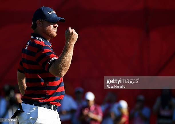 B Holmes of the United States reacts to a birdie putt on the 11th green during afternoon fourball matches of the 2016 Ryder Cup at Hazeltine National...