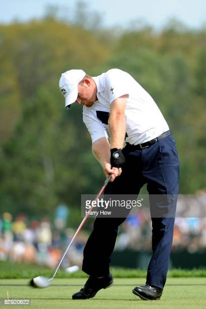 Holmes of the USA team hits his tee shot on the fifth hole during the afternoon four-ball matches on day one of the 2008 Ryder Cup at Valhalla Golf...