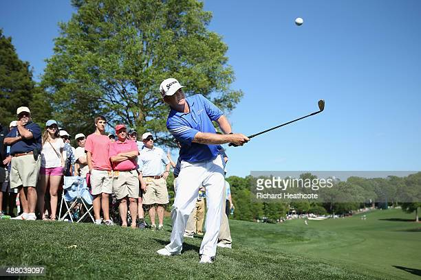 Holmes pitches onto the 15th green during the third round of the Wells Fargo Championship at the Quail Hollow Club on May 3 2014 in Charlotte North...