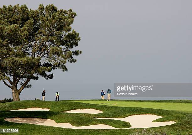 Holmes putts on the 16th green during the third day of previews to the 108th U.S. Open at the Torrey Pines Golf Course on June 11, 2008 in San Diego,...