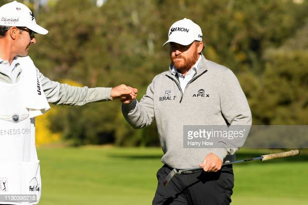 B Holmes reacts to a parsaving putt on the 13th hole during the final round of the Genesis Open at Riviera Country Club on February 17 2019 in...