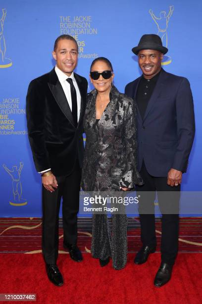 TJ Holmes Sheila E and Ray Chew attend Jackie Robinson Foundation Robie Awards Dinner at Marriot Marquis on March 02 2020 in New York City