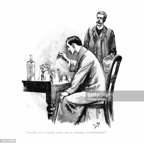 Holmes was working Hard over a Chemical Investigation' 1893 Illustration for The Naval Treaty2 by Arthur Conan Doyle published in Strand Magazine...