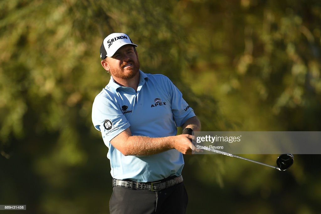 J.B. Holmes watches his tee shot on the 12th hole during the first round of the Shriners Hospitals For Children Open at TPC Summerlin on November 2, 2017 in Las Vegas, Nevada.