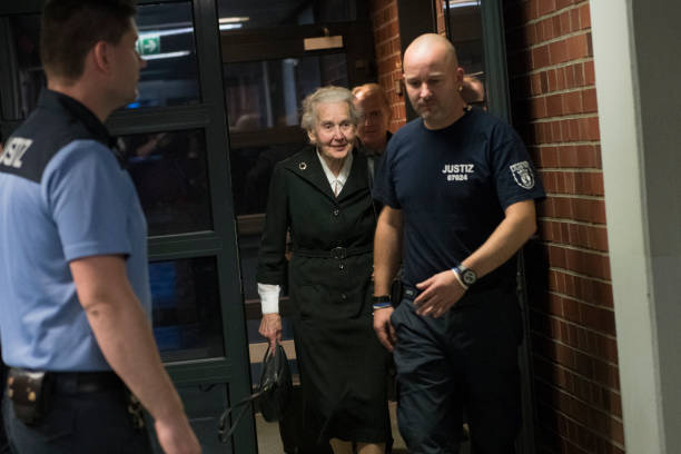Holocaust denier Ursula Haverbeck-Wetzel arrives for her trial at the Amtsgericht Tiergarten courthouse on October 16, 2017 in Berlin, Germany....