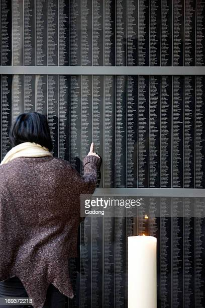 Holocaust Memorial Center in Budapest. The wall with the names of the victims.