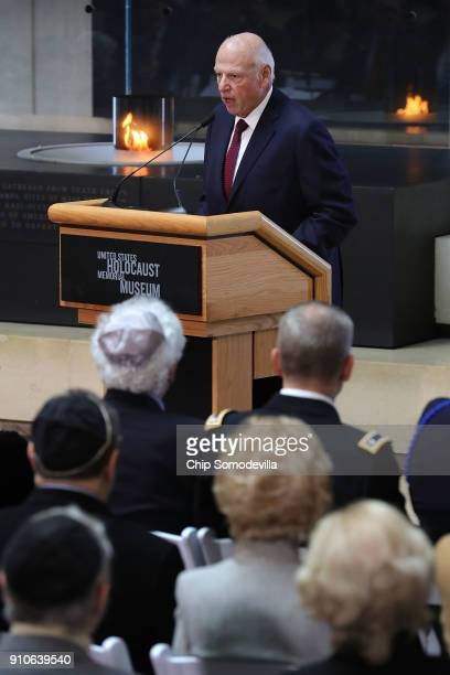 S Holocaust Memorial Council Chairman Howard Lorber delivers remarks during a ceremony commemorating International Holocaust Remembrance Day at the...