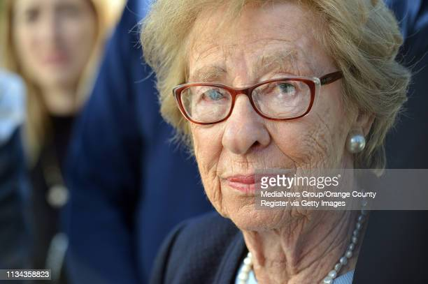 Holocaust survivor Eva Schloss addresses the media at Newport Harbor High School after Schloss meet with students involved in a party with Nazi...