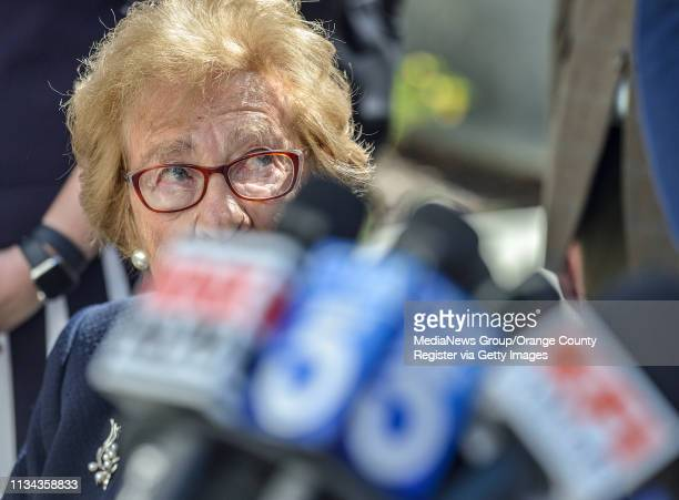 Holocaust survivor Eva Schloss during a press conference at Newport Harbor High School after Schloss meet with students involved in a party with Nazi...
