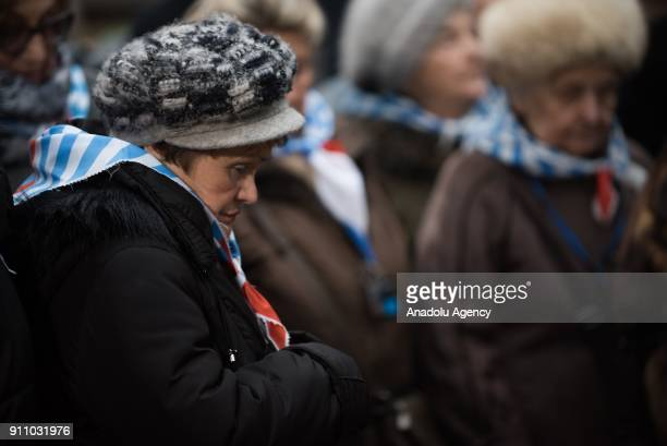 Holocaust survivor is seen at the Death Wall during the 73rd anniversary of the liberation of the former NaziGerman concentration and extermination...
