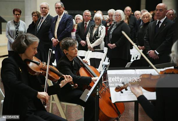 Holocaust survivor Jacqueline Mendels Birn performs in a musical interlude during an International Holocaust Remembrance Day event January 27 2015 at...