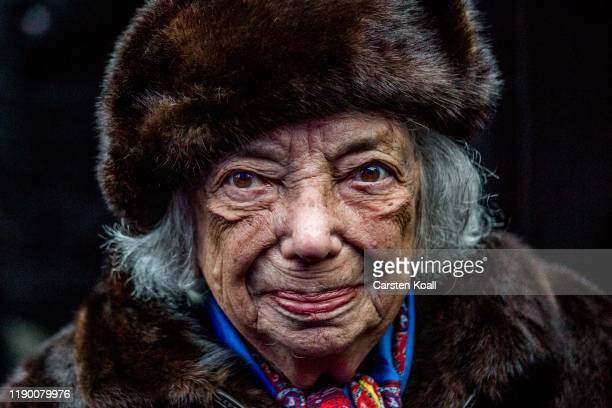 Holocaust survivor Margot Friedlander attends a ceremony to mark the beginning of Hanukkah at a public Menorah ceremony near the Brandenburg Gate on...