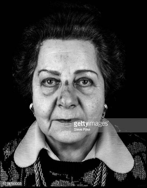 Holocaust survivor, Pola Friend, London, 1995. Friend was a prisoner at the Bergen-Belsen Nazi concentration camp in Germany during World War II.