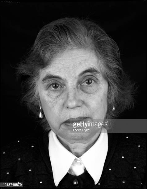 Holocaust survivor, Renee Salt, London, 1995. Salt was a prisoner at the Bergen-Belsen Nazi concentration camp in Germany during World War II.