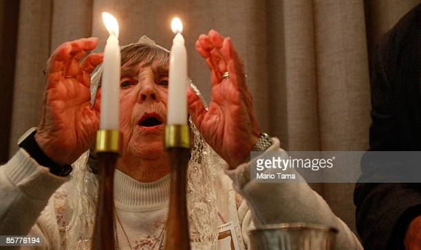 Holocaust survivor Rita Linhart prays during a Passover Seder hosted by Selfhelp Community Services April 2 2009 in New York City Dozens of survivors...