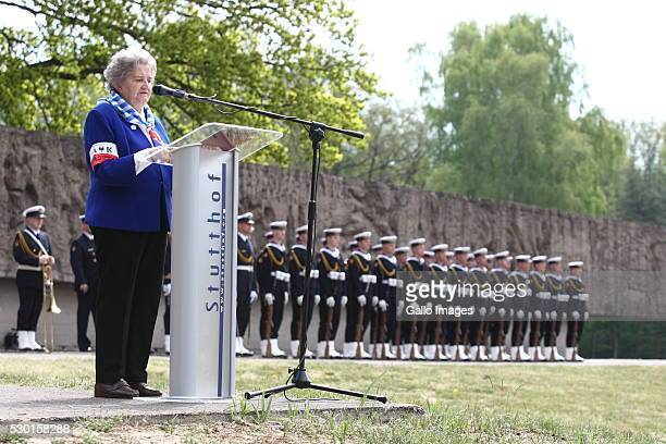 Holocaust survivor speaks during the 71st anniversary of the liberation of the Nazi German concentration camp KL Stutthof on May 9 2016 in Sztutowo...