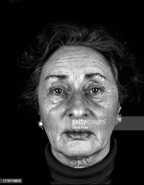 Holocaust survivor, Susan Pollack, London, 1995. Pollack was a prisoner at the Bergen-Belsen Nazi concentration camp in Germany during World War II.