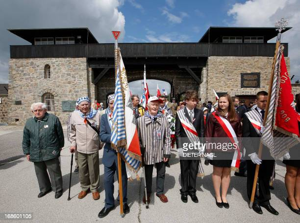 Holocaust survivors arrive with the polish delegation during the commemoration of the liberation of the Nazi concentration camp Mauthausen on May 12...
