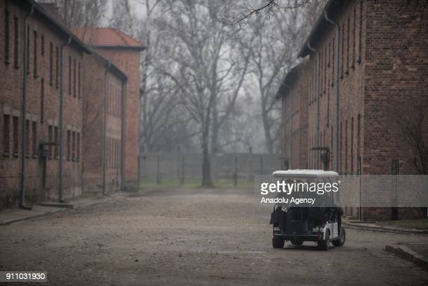 Holocaust survivors headed towards the Death Wall with a buggy during the 73rd anniversary of the liberation of the former NaziGerman concentration...