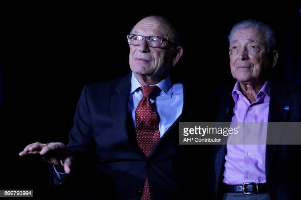Holocaust survivors Samuel R Harris and Aaron Elster speak to reporters at the Take A Stand Center at the Illinois Holocaust Museum Education Center...