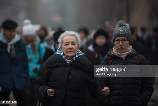 Holocaust survivors walk to the Death Wall during the 73rd anniversary of the liberation of the former NaziGerman concentration and extermination...