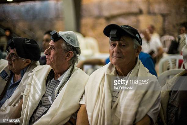 Holocoust survivers seen performing a Bar Mitzvah ceremony on May 2 2016 in Jerusalem Israel Ahead of Holocoust remembrance day a group of survivors...