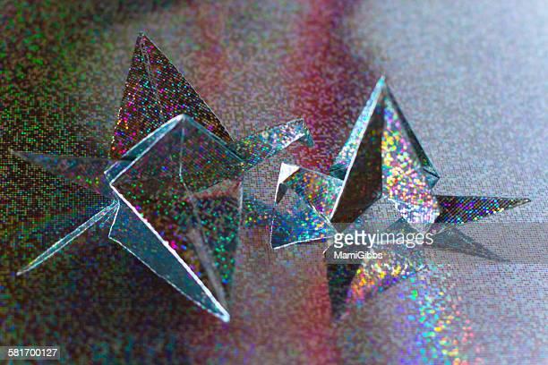 Hologram color paper bird
