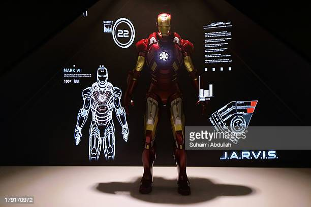 A hologram display of a 1/6th scale of a Mark VII collector figurine from Iron Man 3 is seen during the Singapore Toy Game Comic Convention at the...