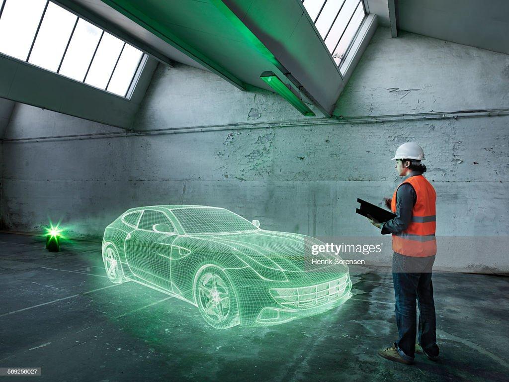 Hologram in warehouse : Stock Photo