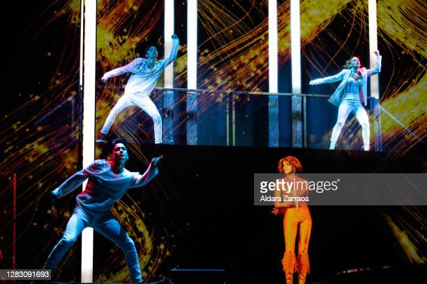 Hologram of American singer Whitney Houston performing is projected on stage at Teatro Bankia Príncipe Pío on October 30, 2020 in Madrid, Spain.