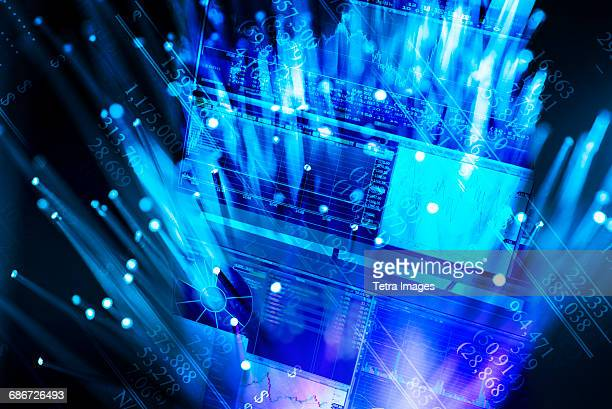 hologram of blue screens - trading floor stock pictures, royalty-free photos & images