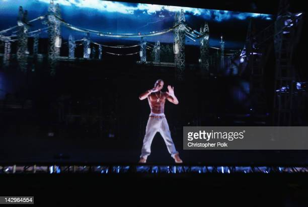A hologram of deceased rapper Tupac Shakur performs onstage during day 3 of the 2012 Coachella Valley Music Arts Festival at the Empire Polo Field on...