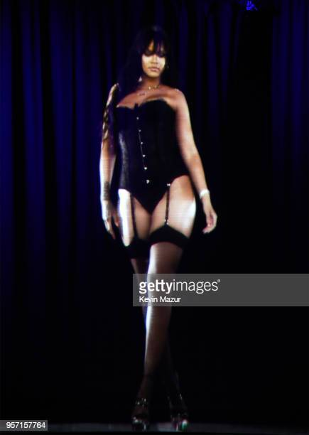 be51cf6b0 A hologram of Rihanna is displayed during the launch of her global lingerie  brand Savage X