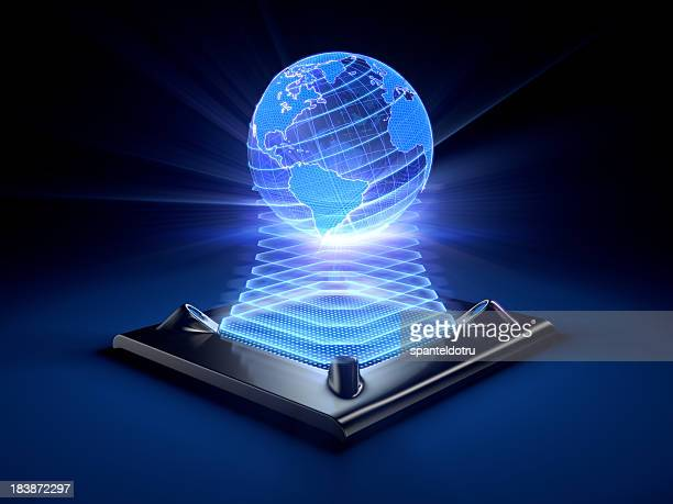 Hologram of the globe projected by a desktop device