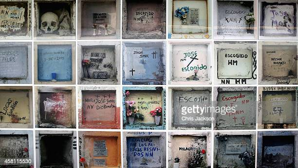 Hologramatic images the graves of victims of Colombia's fifty years of violence at the Peace and Reconciliation Centre on October 30 2014 in Bogota...