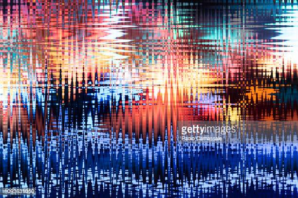 holographic abstract wave background - digital distortion stock photos and pictures