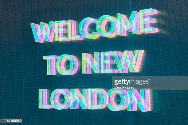 Holographic lettering. Greenwich Peninsula Exhibition at the Now Gallery, Greenwich, United Kingdom. Architect: Emulsion Architects , 2016..