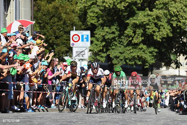 Holst Sondra Enger of Norway and IAM Cycling heads up the cobbled section 2kms from the finish ahead of eventual winner Peter Sagan of Slovakia and...