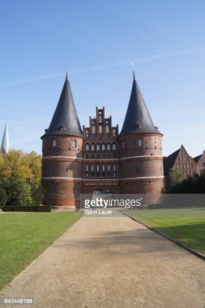 holstentor gate, lubeck, unesco world heritage site, schleswig holstein, germany, europe - classical mythology character stock photos and pictures