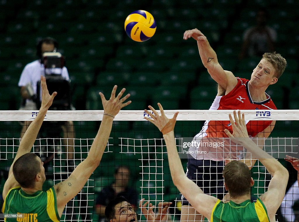 Holt Maxwell of the United States spikes the ball during the FIVB World League Final Six match between the United States and Australia at Mandela Forum on July 17, 2014 in Florence, Italy.