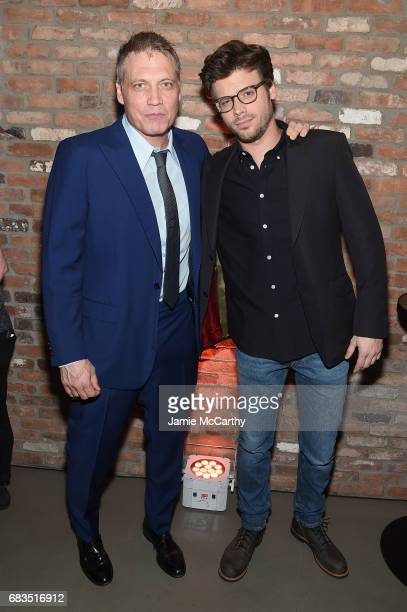 Holt McCallany and Francois Arnaud attend the Entertainment Weekly and PEOPLE Upfronts party presented by Netflix and Terra Chips at Second Floor on...