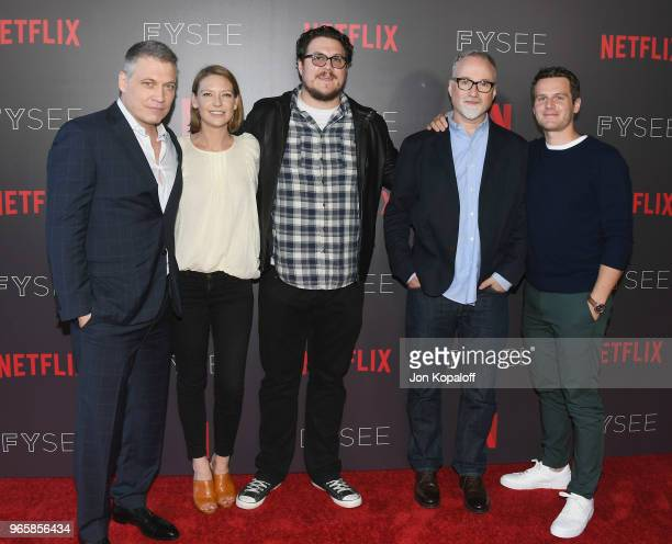 Holt McCallany Anna Torv Cameron Britton David Fincher and Jonathan Groff attend Netflix's 'Mindhunter' FYC Event at Netflix FYSEE At Raleigh Studios...