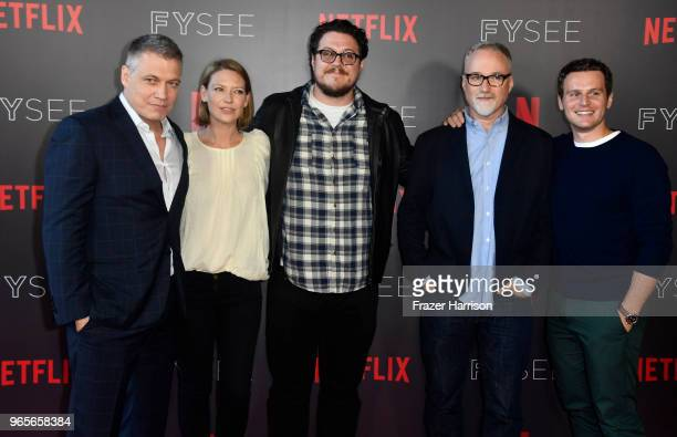 Holt McCallany Anna Torv Cameron Britton David Fincher Jonathan Groff attend Netflix's 'Mindhunter' FYC Event at Netflix FYSEE At Raleigh Studios on...